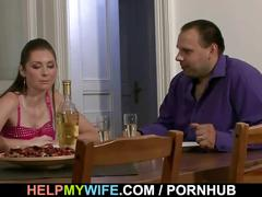He brought pizza and fucked his young wife