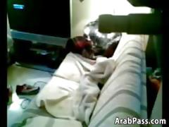 Horny arab couple fucking on the couch
