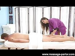 Young masseuse relaxing massage and blowjob