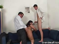 Busty mature gets banged hard by two young studs
