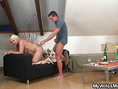 Mature blonde slut gets banged by a young stud