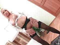 Blonde slut with big tits deep fucking anal