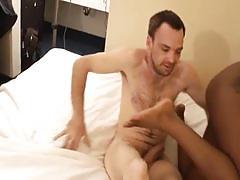 Busty ebony amateur fucks a white dude