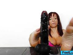 toys, huge dildo, dildo, shy, footjob, amateur, red head, foot fetish