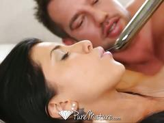 Hot brunette milf with big tits loves riding cock.