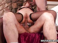 blonde, threesome, anal, round ass, stockings, blowjob, double penetration, from behind, philipina, rough fuck, brutal asia, kat