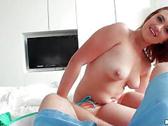 Chilled redhead blows my cock