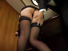 babe, asian, glasses, stockings, bubble butt, brunette, at work, ass groping, office sex jp, all japanese pass, ichika kuroki