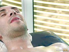 handjob, massage, babe, oiled, sexy clothes, brunette, big booty, dirty masseur, brazzers network, rahyndee james, keiran lee