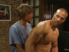 Sexy shemale makes muscle man suck her big dick