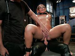 Slut rides a gimp on a box