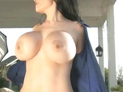 Dahlia dark - busty blue blouse 1 - big tits busting out!