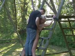 Two blondes restrained for double perversion
