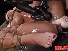 bdsm, fucking machine, vibrator, disgrace, brunette babe, dildo fuck, black gloves, rope bondage, sexual disgrace, fetish network, esmi lee