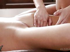 Two horny naked blondes on massage table