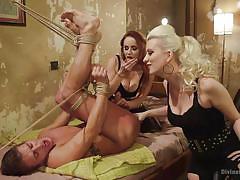 blonde, threesome, anal, femdom, redhead, strap on, ass fingering, milfs, rope bondage, divine bitches, kink, alexander gustavo, bella rossi, cherry torn