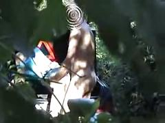 Hubby watches wife fuck a stranger in the woods