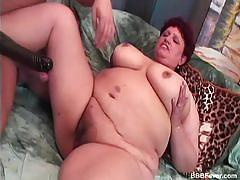 Bbw babe plays with big black dildo