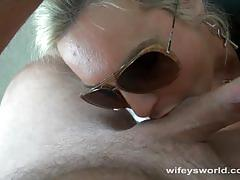 Wifey gives an amazing blowjob and swallows cum