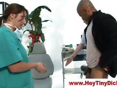 Small dick loser taunted by femdom nurses