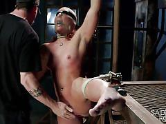 small tits, sadism, torture, redhead, blindfolded, nylon covered, rope bondage, electric shocks, sadistic rope, kink, savannah fox