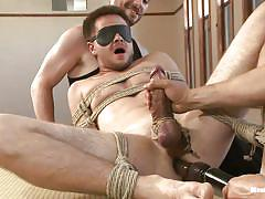 handjob, bdsm, blindfolded, tied up, anal insertion, gay, ropes, shibari, cbt, men on edge, kink men, james riker