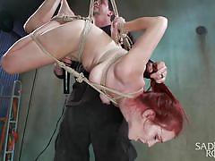 sadism, babe, hanging, redhead, choking, upside down, rope bondage, sadistic rope, kink, ashley lane