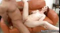 Dirty red haired chick squirts and fucks