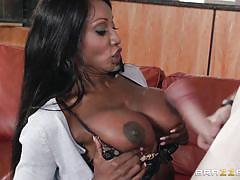 big tits, interracial, kissing, titfuck, ebony milf, mom, boob grabing, mommy got boobs, brazzers network, brick danger, diamond jackson