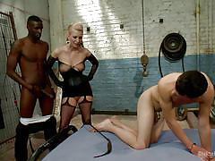Cherry makes her slave boy go bisexual