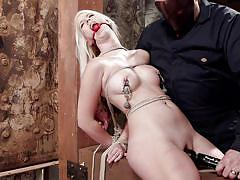 milf, blonde, tied, punishment, domination, fetish, sex toys, nipples torture, rope bondage, hogtied, kink, sgt. major, darcie belle