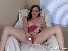 Busty brunette wednesday toying her pink twat