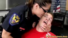 Femdom police milfs giving handjob