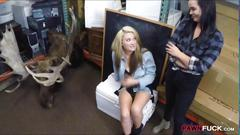 Lesbian couple hot threeway with pawn man at the pawnshop