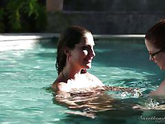 lesbians, redhead, outdoor, glasses, lesbian kissing, underwater, swimming, tits licking, busty babes, sweetheart video, august ames, penny pax