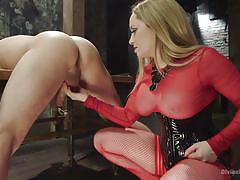 Mean bitch milks her slave