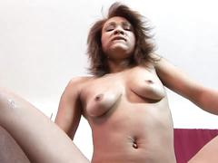 Natural tits ebony can hardly fit hunk's huge tool in her mouth