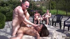 Teen sex machine handling 8 old cocks in gangbang