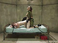 Tied up slave gets jacked off with a latex glove