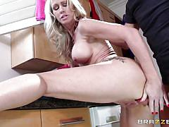 Blonde milf is being watched as she is fucked