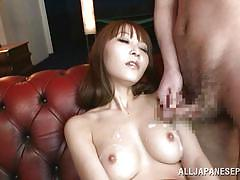 Asian mastrubates and gets a facial