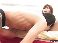 Cheating little asian whore sucking on the fellas pecker