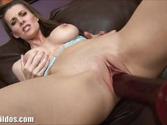 Brunette milf brandi fucked by a brutal dildo machine