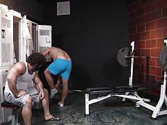 Two muscled dudes working out their cocks