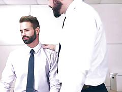 handjob, hairy, big dick, muscled, gay blowjob, gay, at work, gay office, the gay office, men, jessy ares, dani robles