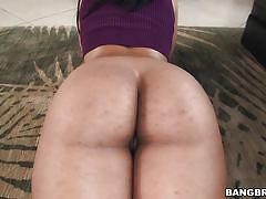 Curvy brunette striding her big butt