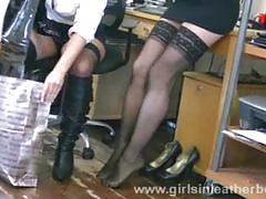 British ladies trying on boots at work