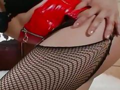Asian belle masturbates in a red corset and poses