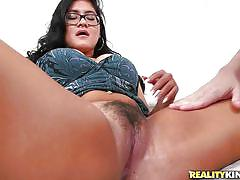 bush, glasses, big boobs, vibrator, couch, pussy fingering, brunette babe, unshaved vagina, hot bush, reality kings, selena kyle x, tarzan