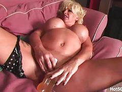 Blonde mom joanne toys her pussy